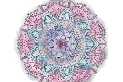 A mandala with soft, watercolor tones
