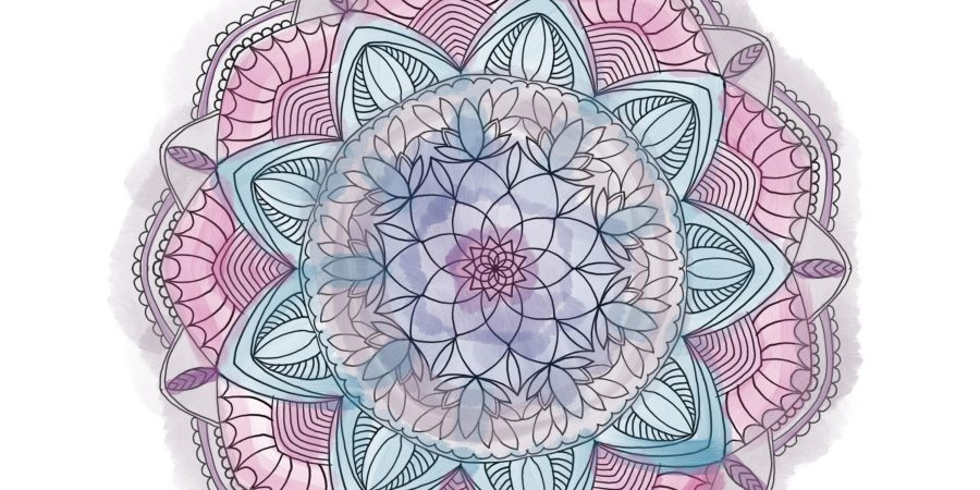 A mandala with soft, watercolor tones