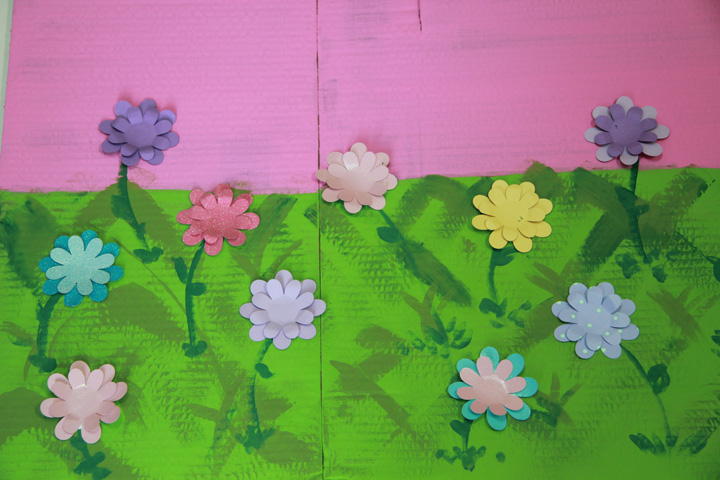 puppet theater - re purposed flowers